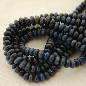"""High Quality Grade A Natural Dumortierite Semi-Precious Gemstone Rondelle Spacer Beads - approx 6mm x 4mm - 15.5"""" strand"""