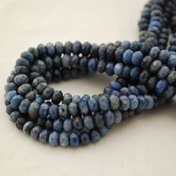 """High Quality Grade A Natural Dumortierite Semi-Precious Gemstone FACETED Rondelle Spacer Beads - approx 6mm x 4mm - 15.5"""" strand"""