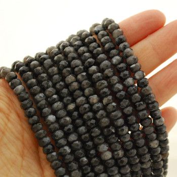 """High Quality Grade A Natural Larvikite Semi-Precious Gemstone FACETED Rondelle Spacer Beads - approx 6mm x 4mm - 15.5"""" strand"""