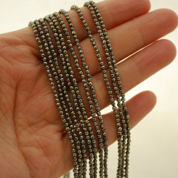 """High Quality Grade A Natural Pyrite Semi-Precious Gemstone FACETED Round Beads - 2mm - 15.5"""" long"""