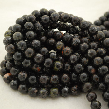 "High Quality Grade A Natural Black Rhyodacite Semi-Precious Gemstone Round Beads - 4mm, 6mm, 8mm, 10mm sizes - 15.5"" long"