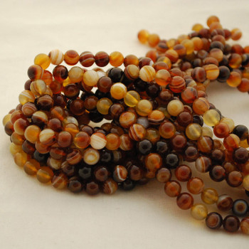 """High Quality Grade A Natural Brazil Golden Brown Agate Semi-Precious Gemstone Round Beads - 4mm, 6mm, 8mm, 10mm sizes - 15.5"""" long"""