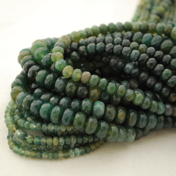 """High Quality Grade A Natural Green Moss Agate Semi-Precious Gemstone FACETED Rondelle Spacer Beads - 4mm, 6mm, 8mm sizes - 15.5"""" long"""