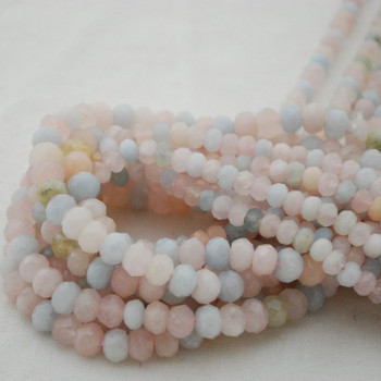 "High Quality Grade A Natural Morganite Semi-Precious Gemstone FACETED Rondelle Spacer Beads - 6mm, 8mm sizes - 15.5"" long"