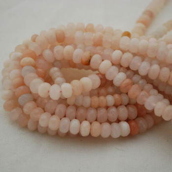 """High Quality Grade A Natural Pink Aventurine Semi-Precious Gemstone FACETED Rondelle Spacer Beads - 6mm, 8mm sizes - 15.5"""" long"""