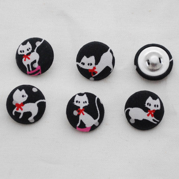 100 Fabric Covered Buttons - White Cat - Black - 2cm