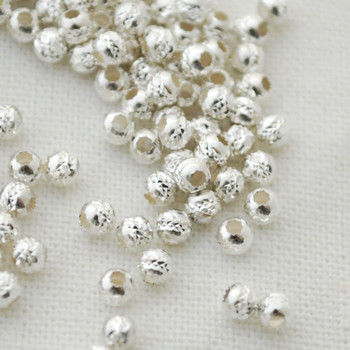 Italian 925 Sterling Silver Findings - 50 Sterling Silver Diamond Cut Round Beads - 3mm - Made in Italy (Ref-XX)