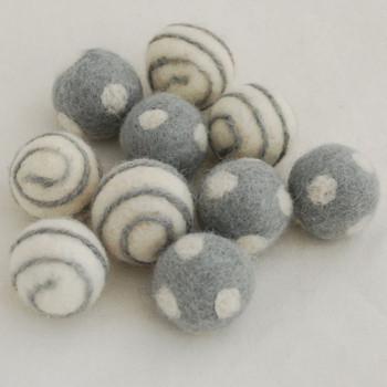 100% Wool Felt Balls - 10 Count - Polka Dots Felt Balls & Swirl Felt Balls - Silver Grey - approx 2.5cm