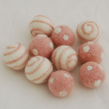 100% Wool Felt Balls - 10 Count - Polka Dots Felt Balls & Swirl Felt Balls - Peach Blossom Pink - approx 2.5cm