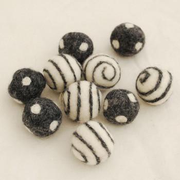 100% Wool Felt Balls - 10 Count - Polka Dots Felt Balls & Swirl Felt Balls - Dark Grey Mix - approx 2.5cm