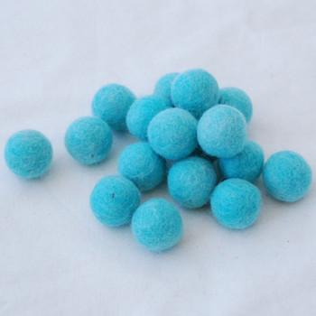 100% Wool Felt Balls - 2cm - Light Turquoise Blue - 20 Count / 100 Count