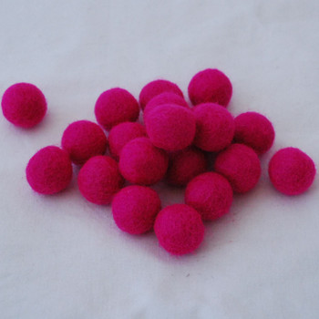 100% Wool Felt Balls - 2cm - Fuchsia Pink - 20 Count / 100 Count