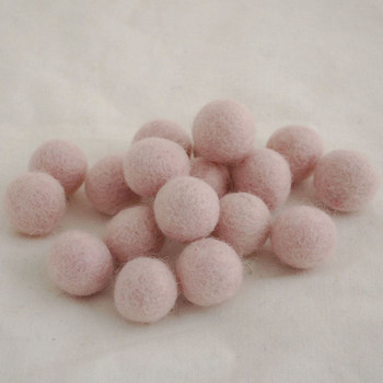 100% Wool Felt Balls - 2cm - Light Baby Pink - 20 Count / 100 Count