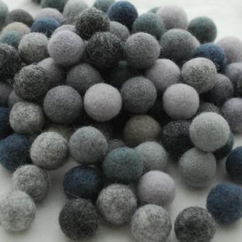 100% Wool Felt Balls - 100 Count - 1.5cm - Assorted Grey Colours