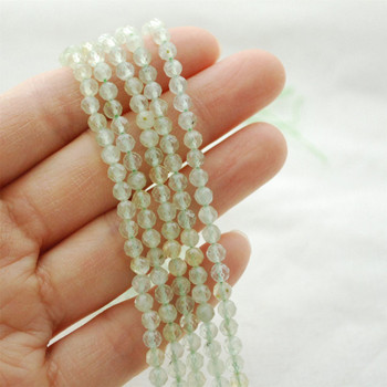 "High Quality Grade A Natural Prehnite (green) Semi-Precious Gemstone FACETED Round Beads - approx 4mm - 15.5"" long"