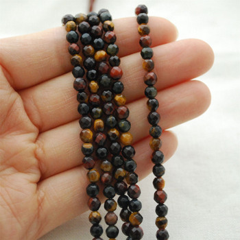"""High Quality Grade A Mutilcolour Tiger Eye Semi-precious Gemstone FACETED Round Beads - approx 4mm - 15.5"""" long"""