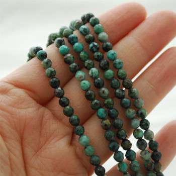 "High Quality Grade A Natural African Turquoise Semi-Precious Gemstone FACETED Round Beads - approx 4mm - 15.5"" long"