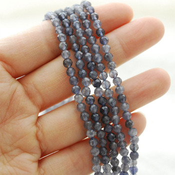 "High Quality Grade A Natural Iolite Semi-Precious Gemstone FACETED Round Beads - approx 4mm - 15.5"" long"