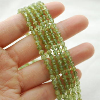 """High Quality Grade A Natural Peridot Semi-Precious Gemstone FACETED Round Beads - approx 4mm - 15.5"""" long"""
