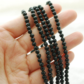 """Green Goldstone FACETED Round Beads - approx 4mm - 15.5"""" long"""