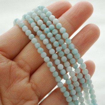 """High Quality Grade A Natural Amazonite Semi-Precious Gemstone FACETED Round Beads - approx 4mm - 15.5"""" long"""
