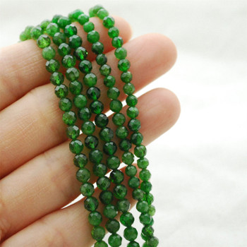 """High Quality Grade A Natural Russian Green Chrome Diopside Semi-Precious Gemstone FACETED Round Beads - approx 4mm - 15.5"""" long"""