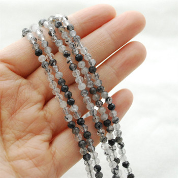 "High Quality Grade A Natural Tourmalinated Quartz Semi-Precious Gemstone FACETED Round Beads - approx 4mm - 15.5"" long"