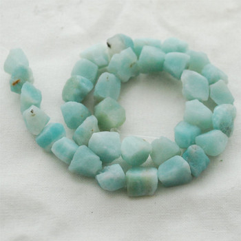 "Raw Natural Amazonite Semi-precious Gemstone Chunky Nugget Beads - approx 8mm - 10mm x 10mm - 12mm - approx 15"" long strand"