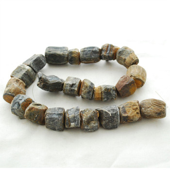 "Raw Natural Blue Tiger Eye Semi-precious Gemstone Chunky Nugget Beads - approx 13mm - 15mm x 18mm - 22mm - approx 15"" long strand"