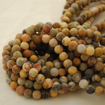 """High Quality Grade A Natural Crazy Lace Agate Semi-Precious Gemstone Frosted Matt Round Beads - 8mm, 10mm sizes - 15.5"""" long"""