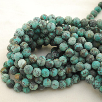 "High Quality Grade A Natural Blue African Turquoise Semi-Precious Gemstone FROSTED / MATT Round Beads - approx 8mm - 15.5"" long"