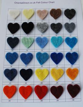 Felt Balls / Shapes Colour Sample Chart / Swatch Card