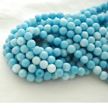 High Quality Grade A Larimar Quartz (dyed) Blue Semi-precious Gemstone Round Beads - 4mm, 6mm, 8mm, 10mm sizes