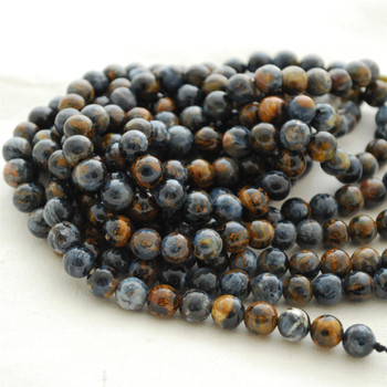 "High Quality Grade AA Natural African Blue Pietersite Semi-Precious Gemstone Round Beads - 8mm - 15.5"" strand"