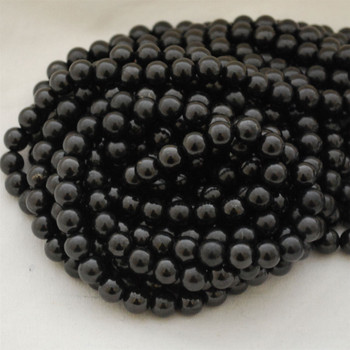 "High Quality Grade A Natural Shungite Semi-Precious Gemstone Round Beads - 4mm, 6mm, 8mm, 10mm, 12mm sizes - 15.5"" long"