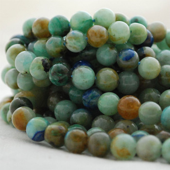 "High Quality Grade A Natural Australia Chrysocolla Semi-Precious Gemstone Round Beads - 6mm, 8mm, 10mm sizes - 15.5"" long"