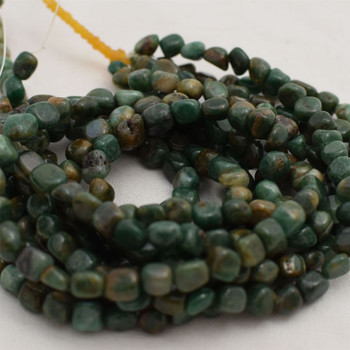 """High Quality Grade A Natural African Jade Semi-precious Gemstone Pebble Tumbledstone Nugget Beads - approx 5mm - 8mm - 15"""" long strand"""