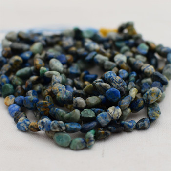 """High Quality Grade A Natural Azurite Semi-precious Gemstone Pebble Tumbledstone Nugget Beads - approx 5mm - 8mm - 15"""" long strand"""