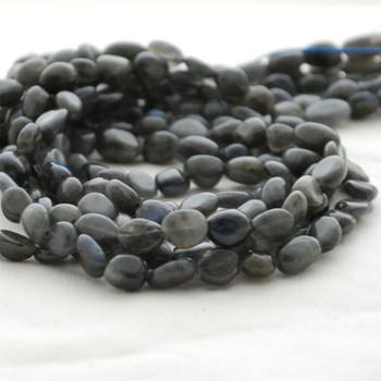 "High Quality Grade A Natural Black Labradorite Semi-precious Gemstone Pebble Tumbledstone Nugget Beads - approx 5mm - 8mm - 15"" long strand"
