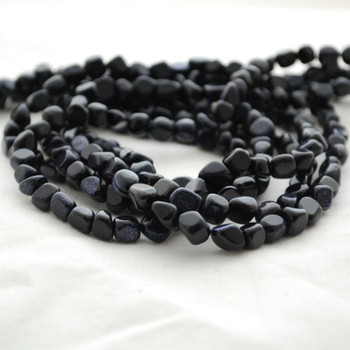 """High Quality Grade A Blue Goldstone Pebble Tumbledstone Nugget Beads - approx 5mm - 8mm - 15"""" long strand"""