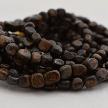 "High Quality Grade A Natural Bronzite Semi-precious Gemstone Pebble Tumbledstone Nugget Beads - approx 5mm - 8mm - 15"" long strand"