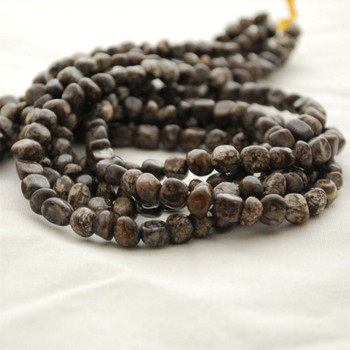 "High Quality Grade A Natural Chinese Snowflake Obsidian Semi-precious Gemstone Pebble Tumbledstone Nugget Beads - approx 5mm - 8mm - 15"" long strand"