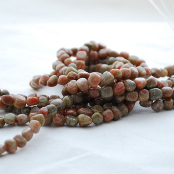 """High Quality Grade A Natural Chinese Unakite Semi-precious Gemstone Pebble Tumbledstone Nugget Beads - approx 5mm - 8mm - 15"""" long strand"""