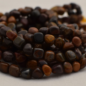 """High Quality Grade A Natural Chinese Writing Stone Semi-precious Gemstone Pebble Tumbledstone Nugget Beads - approx 5mm - 8mm - 15"""" long strand"""