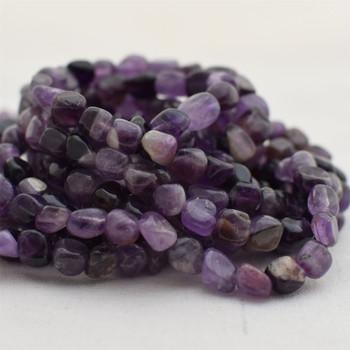 "High Quality Grade A Natural Dark Purple Mauve Jade Semi-precious Gemstone Pebble Tumbledstone Nugget Beads - approx 5mm - 8mm - 15"" long strand"