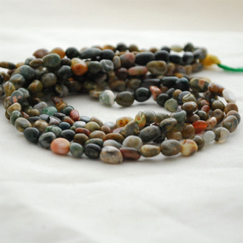 """High Quality Grade A Natural Indian Agate Semi-precious Gemstone Pebble Tumbledstone Nugget Beads - approx 5mm - 8mm - 15"""" long strand"""