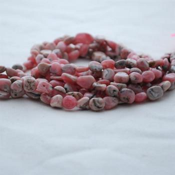 "High Quality Grade A Natural Rhodochrosite Semi-precious Gemstone Pebble Tumbledstone Nugget Beads - approx 5mm - 8mm - 15"" long strand"