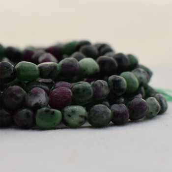 """High Quality Grade A Natural Ruby Zoisite Semi-precious Gemstone Pebble Tumbledstone Nugget Beads - approx 5mm - 8mm - 15"""" long strand"""