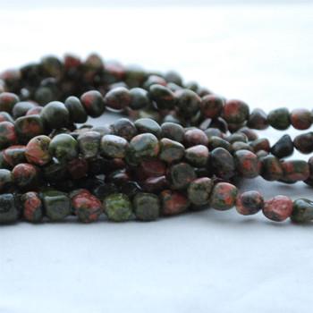 "High Quality Grade A Natural Unakite Semi-precious Gemstone Pebble Tumbledstone Nugget Beads - approx 5mm - 8mm - 15"" long strand"