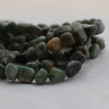 """High Quality Grade A Natural African Jade Semi-precious Gemstone Pebble Tumbledstone Nugget Beads - approx 7mm - 10mm - 15"""" long strand"""